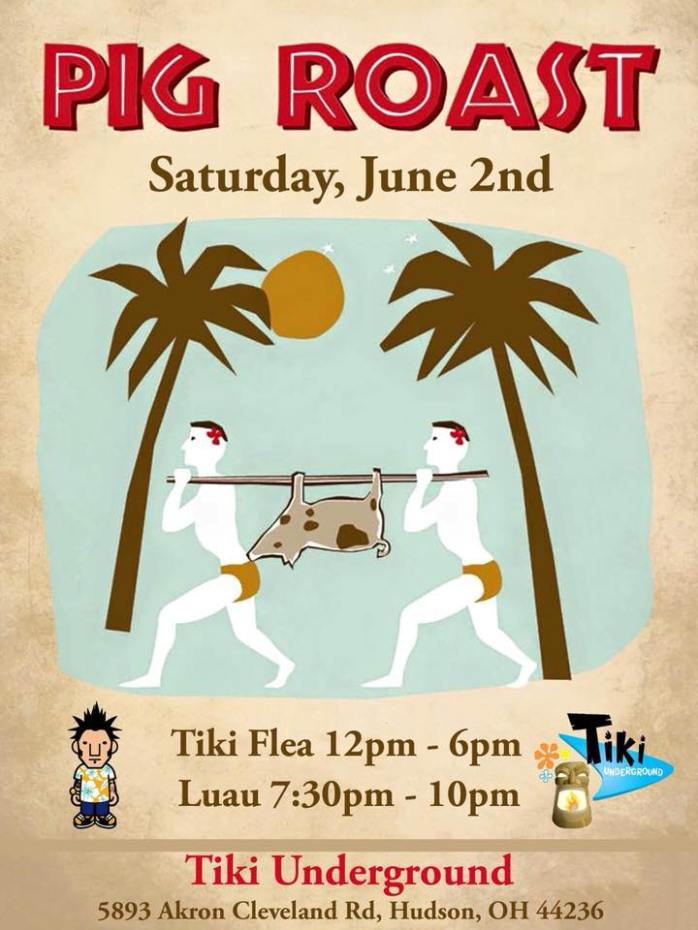 TU TIKI FLEA TWO Pig Roast Poster